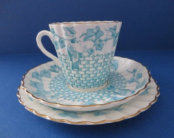 Victorian blue floral 1800's tea trio set