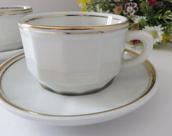 Apilco vintage 1980's white and gold  coffee cup and saucer