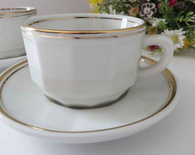 Featured listing image: Apilco vintage 1980's white and gold  coffee cup and saucer
