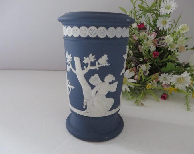 Featured listing image: Wedgwood Jasper ware 1990's vintage dark blue Vase