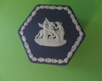 Wedgwood Jasperware vintage 1970's dark blue trinket pot