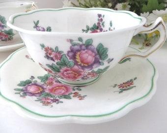Vintage Crescent & Sons 1920's  pink floral teacup and saucer