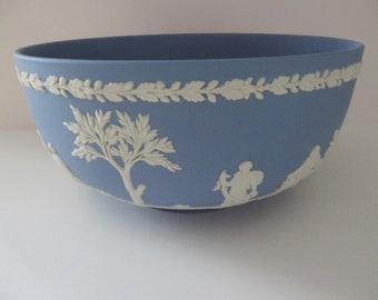 Wedgwood Jasperware large vintage 1960's pale blue bowl