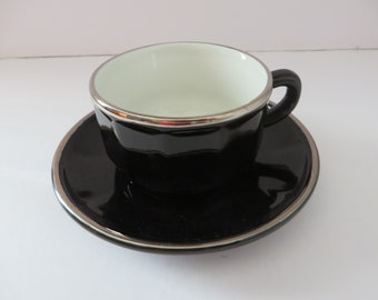 Apilco vintage 1980's black and platinum coffee cup and saucer