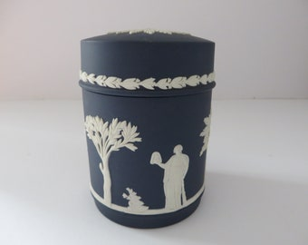 Wedgwood Jasperware dark blue vintage 1970's lidded pot