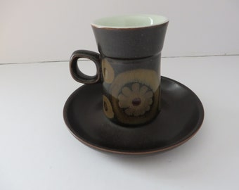 Denby ware vintage 1970's Arabesque coffee cup and saucer