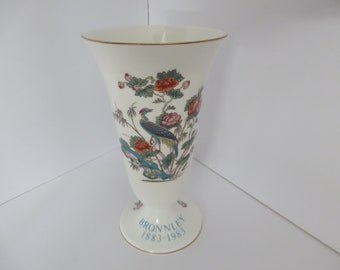 Wedgwood and Bronnley vintage 1980's Kutani Crane blue floral footed vase