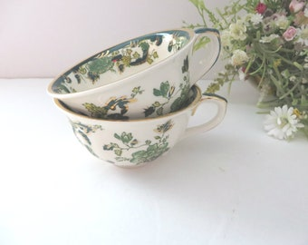 Masons Ironstone vintage 1970's pair of  green chartreuse cups
