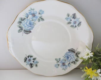 Queen Anne 1950's vintage blue rose cake plate
