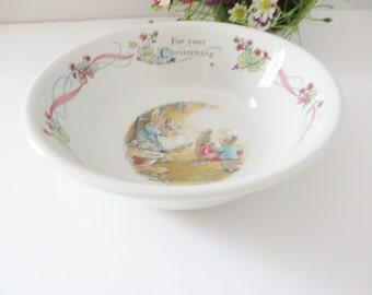 Beatrix Potter Peter Rabbit vintage 1990's Christening bowl