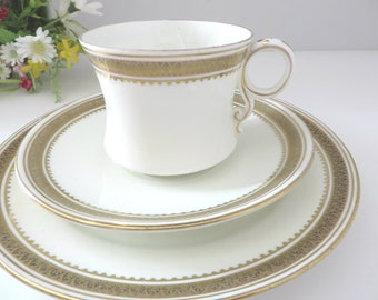 Samuel Radcliffe antique 1890's white and gold tea trio