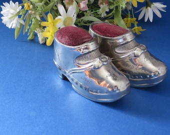 Silver metal 1920's pin cushion shoes