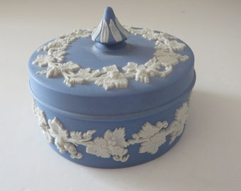 Wedgwood Jasperware small pale blue vintage 1960's trinket box