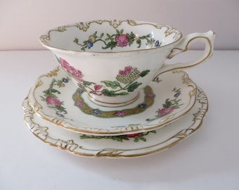 Antique Crescent ware 1890's floral  tea trio