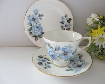 Queen Anne 1950's vintage Blue Roses tea trio