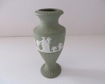 Wedgwood  Jasperware vintage 1970's sage green vase