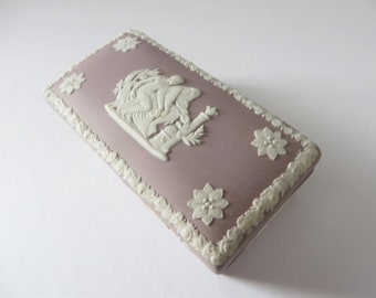 Wedgwood Jasperware vintage  1960's Lilac small oblong trinket box