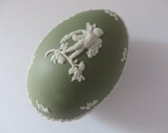 Wedgwood Jasperware sage green vintage 1970's egg shape trinket box