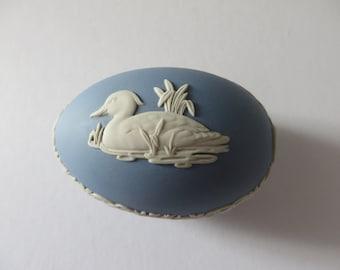 Wedgwood Jasper ware Mallard Duck vintage 1970's egg shape trinket box