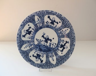 Antique chinese reproduction Kangxi style 1940's blue and white porcelain plate