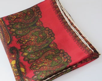 Vintage 1960's red paisley Acetate scarf