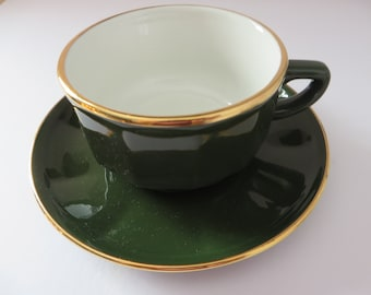 Apilco vintage 1980's green breakfast coffee cup and saucer
