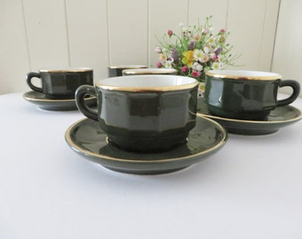 Apilco vintage green and gold coffee cup and saucer