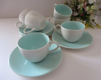 Poole pottery vintage 1950's ice green and seagull coffee cup and saucer