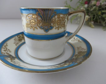 Noritake antique 1900's blue and gold coffee cup and saucer