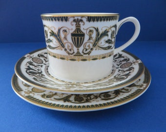 Royal Worcester vintage 1960's dark green and gold Windsor tea trio