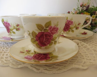 Duchess vintage 1970's  pink rose tea cup and saucer