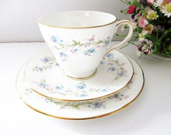 Duchess vintage 1970's floral blue tea trio