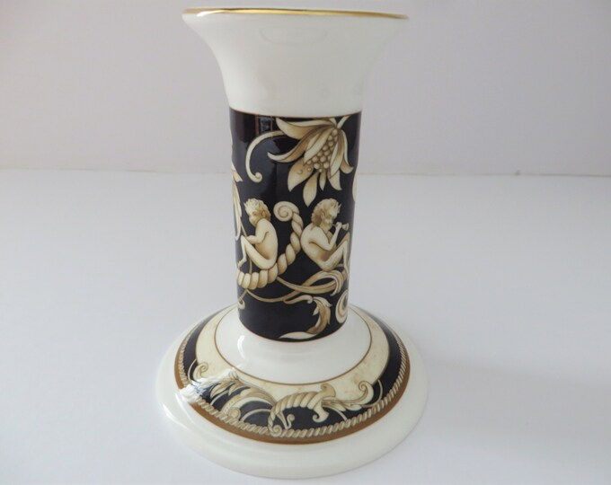 Featured listing image: Wedgwood dark navy and cream vintage 1990's Cornucopia candlestick