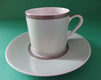 Guy Degrenne vintage mint green and silver coffee cup and saucer