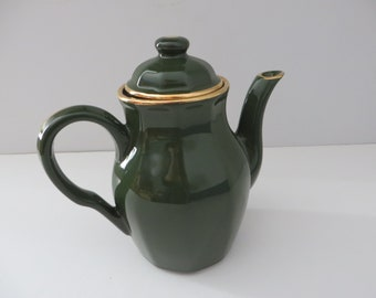 Delaunay French vintage green and gold coffee pot