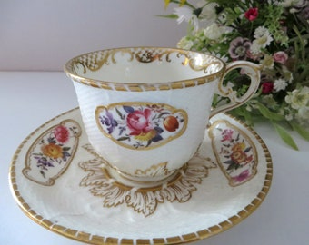 Samuel Alcock 1800's antique floral cup and saucer
