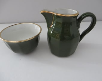 Delaunay French vintage green and gold creamer set