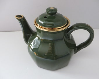 Delaunay French vintage green and gold teapot