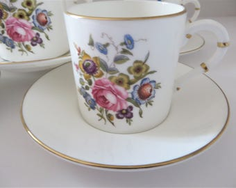 Worcester vintage 1980's pink floral coffee cup and saucer