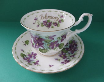 Royal Albert vintage 1970's Violets cup and sauce