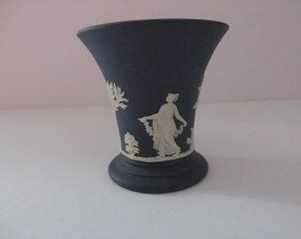 Wedgwood Jasperware 1970's dark blue small posy vase