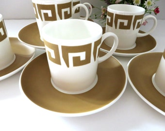 Susie Cooper vintage 1968 Keystone Old Gold coffee cup and saucer