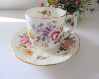 Royal Crown Derby posies vintage 1980's coffee cup and saucer