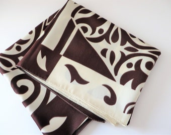 Vintage 1980's  chocolate brown and cream scarf