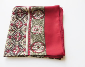 Vintage Cherry red and forest green Scarf