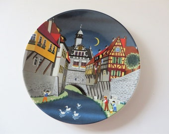 Barbara Furstenhofer vintage 1980's plate for Poole Pottery