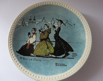 Norman Rockwell When in Rome vintage 1980's plate