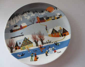 Poole Pottery vintage 1980's  decorative winter season wall plate