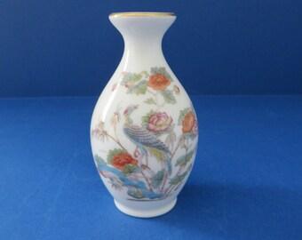 Wedgwood Kutani Crane vintage 1980's small blue  bud vase