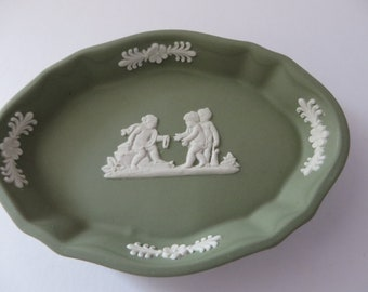Wedgwood Jasperware sage green vintage 1980's oval pin dish
